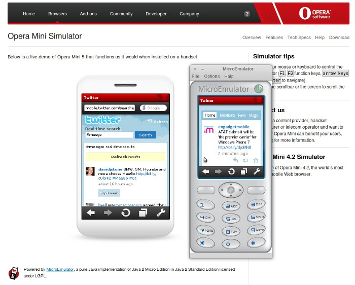 Opera Mini Simulator and Emulator