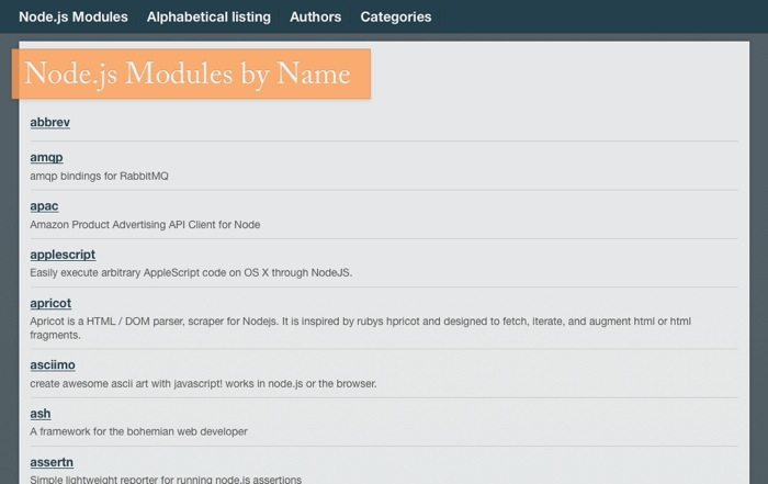 Nodu.es - Modules by name