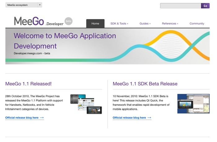 developers.meego.com Homepage
